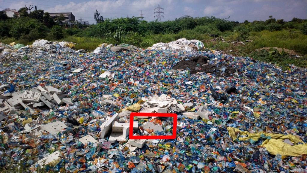 Plastic bottle labels discarded at Pondicherry's truck terminal